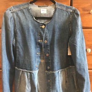 Large GAP peplum style denim jacket
